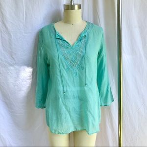 Sheer Turquoise Tunic with Embroidery